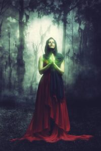 woman, fantasy, forest
